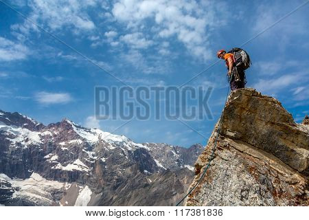 Mountain climber on top