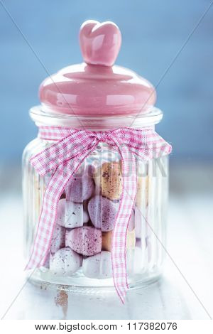 Masson Jar With Chocolate Easter Eggs