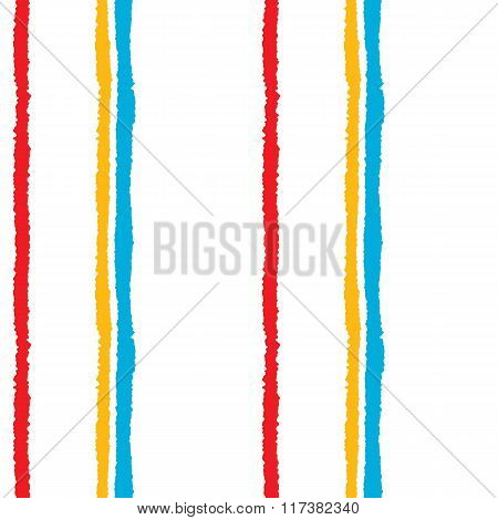 Seamless strip pattern. Vertical lines with torn paper effect. Summer, bright, blue, yellow, red col
