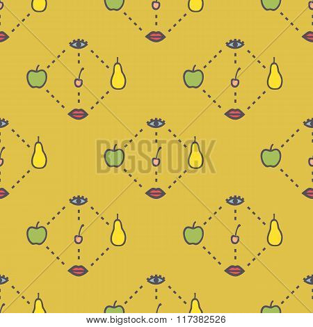 Vector Pattern Of Diagrams Of Lips, Fruits And Eyes On Yellow Background