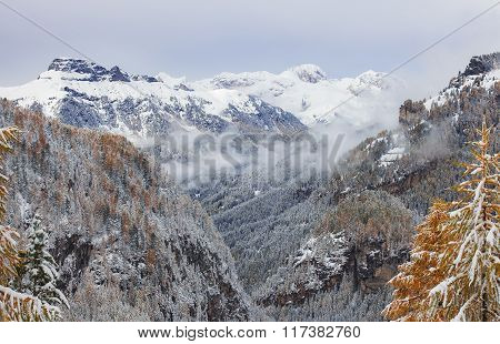 Marmolada summit in winter Dolomites