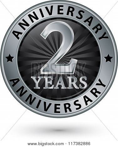 2 Years Anniversary Silver Label, Vector Illustration