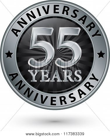 55 Years Anniversary Silver Label, Vector Illustration