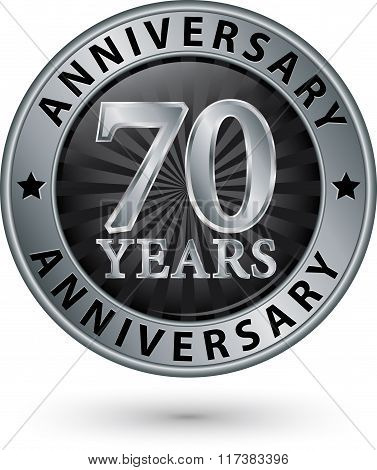 70 Years Anniversary Silver Label, Vector Illustration