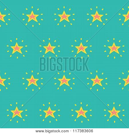 Vector Seamless Pattern Of Glowing Stars On Turquoise Background