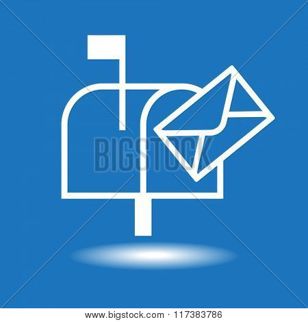 White mailbox icon on a blue background. The file is saved in the version 10 EPS.