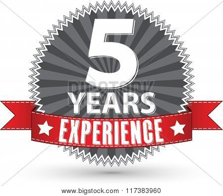 5 Years Experience Retro Label With Red Ribbon, Vector Illustration