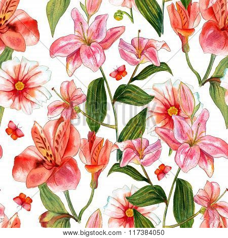 Vivid Watercolor Flowers And Butterflies Seamless Background Pattern