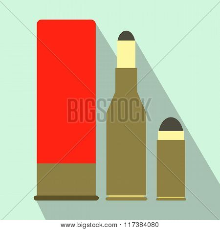 Shotgun shell and bullets flat icon