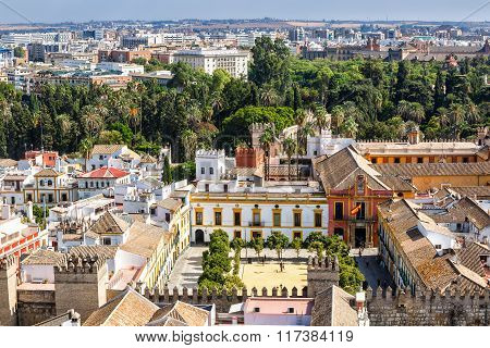 View to  Alcazar Gardens and palaces in Seville