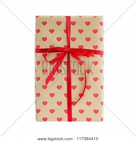 Wrapped Gift Box With Red Ribbon Isolated Over White Background