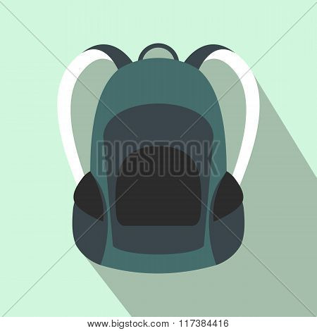 Touristic backpack flat icon