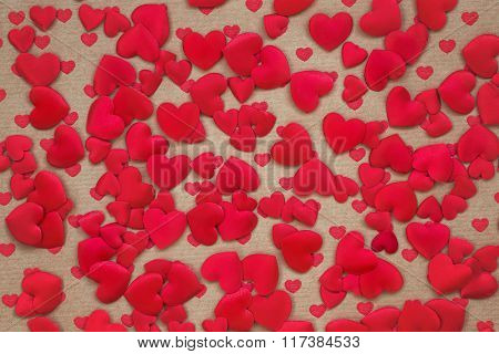 Valentines Day Hearts Background. Toned, Copy Space, Soft Focus
