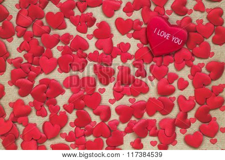 Valentines Day Red Hearts Background. Toned, Copy Space