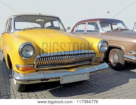 Retrocar Of 1960S Sedan Yellow Color