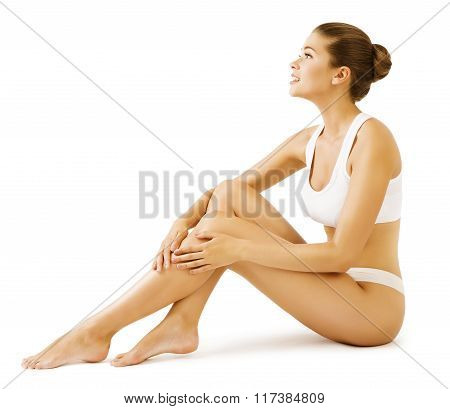 Woman Body Beauty, Model Girl Sitting In White Underwear, Touch Leg Skin