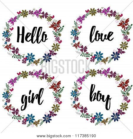 Vector illustration of flowers frame. Spring or summer design for invitation and greeting cards