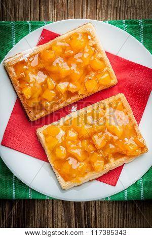 Waffles With Peach Jam.