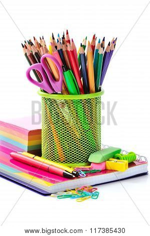 Holder Basket And Office Supplies Isolated On White Background