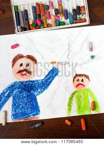 father smoking a cigarette and sad child