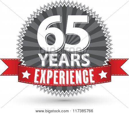 65 Years Experience Retro Label With Red Ribbon, Vector Illustration