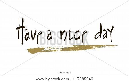 Have a Nice Day lettering handmade vector calligraphy. Simple stylish text design template on white