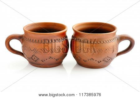 Ceramic Cups On A White Background