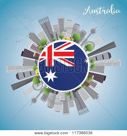 Australia Skyline with Gray Buildings and Blue Sky. Business and tourism concept with skyscrapers. Image for presentation, banner, placard or web site