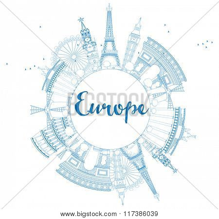 Famous landmarks in Europe. Outline illustration. Business travel and tourism concept with place for text. Image for presentation, banner, placard and web site