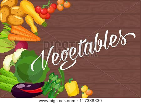Ingredients for cooking on an old wooden table. Vegetarian flat design. Healthy food of different ve