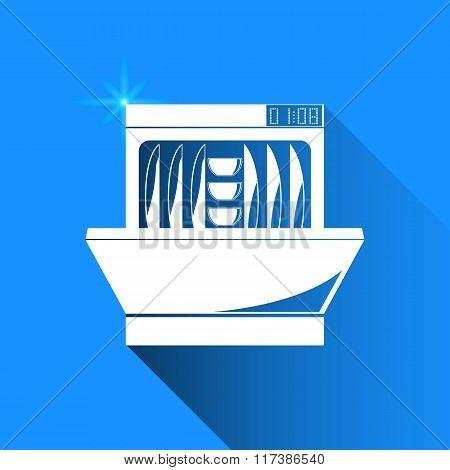 Dishwasher On Blue Background