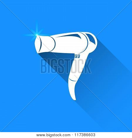 Hairdryer On Blue Background. Vector Isolated