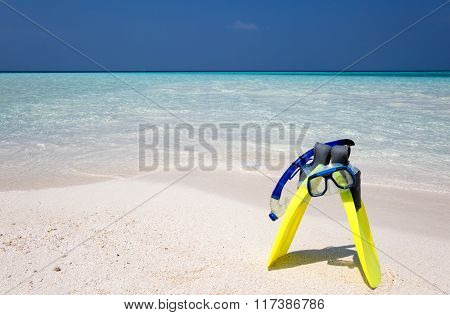 Snorkeling gear on a beach