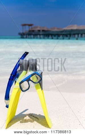 Snorkeling gear on a Maldivian beach