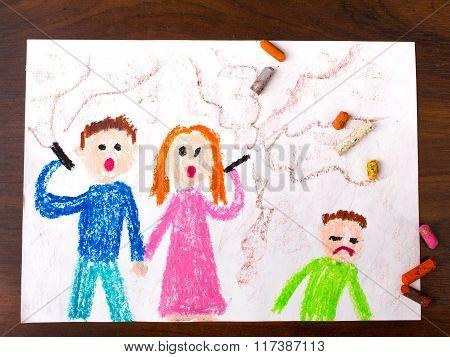 parents smoking a cigarette and sad child