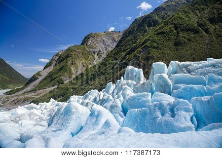 Lower part of Fox Glacier at New Zealand's South Island a major tourist attraction and one of the most accessible glaciers in the world
