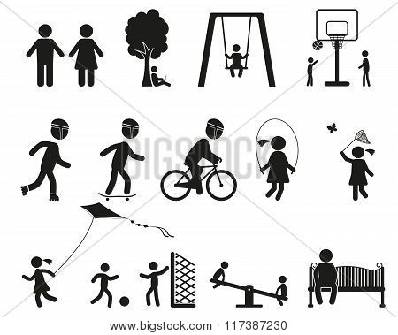 playground and children black simple icon set