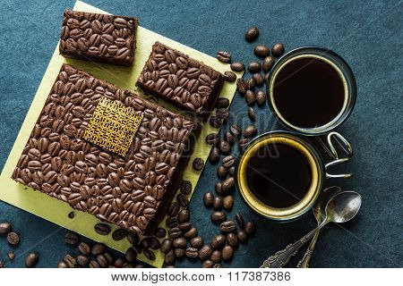 Dark Chocolate Cake With Expresso Coffee And Roasted Coffee Beans