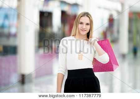 Beautiful Female Shopping With Paper Bags