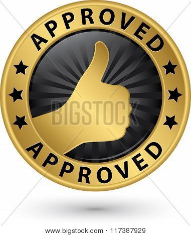 Approved Golden Label With Thumb Up, Vector Illustration