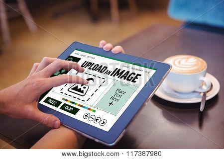 Designer interface against close-up of digital tablet and coffee on table Close-up of digital tablet and coffee on table in the coffee shop
