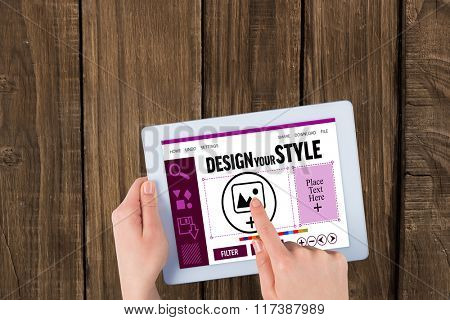 Designer interface against hands using tablet pc