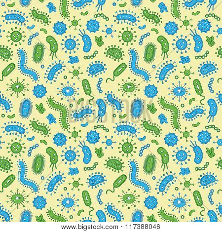 Blue & green bacteria on a yellow background