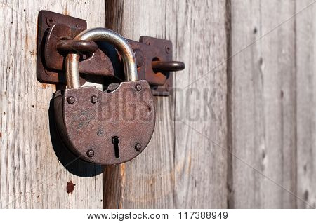 Old And Rusty Padlock.