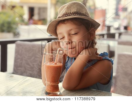 Happy Enjoying Kid Girl Drinking Tasty Natural Smoothie Juice With Closed Relaxed Eyes In Street Res