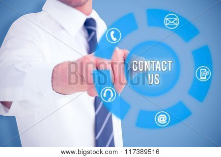 Businessman in shirt presenting at camera against blue