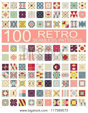 Set of 100 retro different vector geometric seamless patterns (tiling) of blue, red, ivory, pink and green colors. Endless texture can be used for web page background, surface and textile textures
