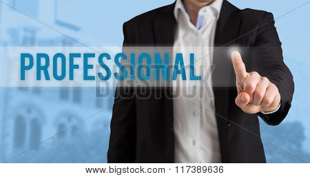 The word professional and businessman standing and pointing against low angle view of city buildings on sunny day