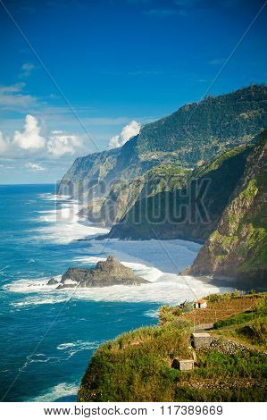 Atlantic Ocean And Cliffs On The Northern Coast Of Madeira