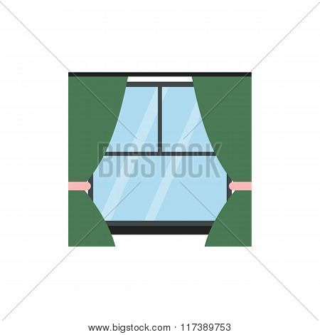 Window with curtains flat icon